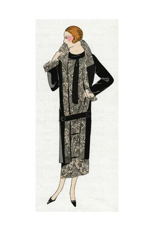 Young Lady in Black and Beige Outfit by Molyneux