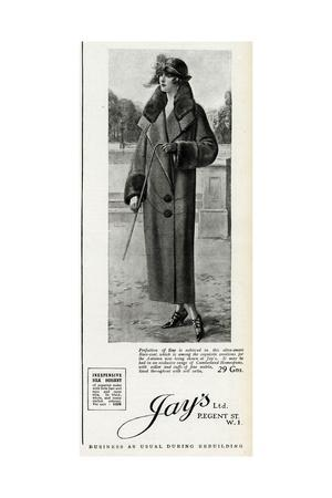 Advert for Jay's Womens Coats 1923