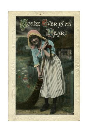 Young Woman with Sweeping Brush
