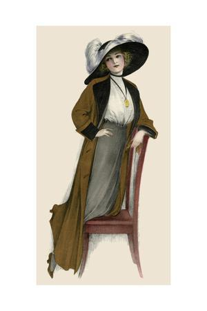 Woman Wear a Merry Widow Hat and Plumes