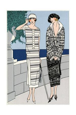 Two Ladies in Outfits by Jean Patou and Drecoll