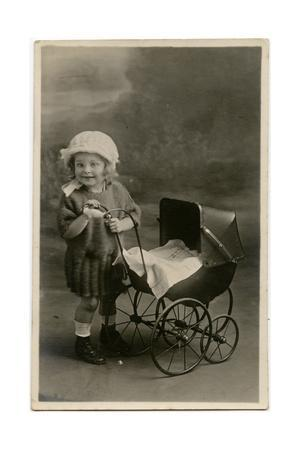 Little Girl with Toy Pram