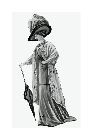 Woman Wearing Piped Tunic Skirt