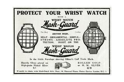 Advert for Mesh-Guard Wrist Watch 1918