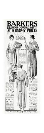 Advert for Barkers Womens Dressing Gown and Skirts 1918