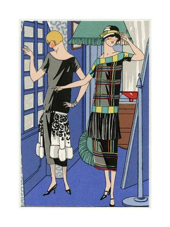 Two Young Ladies in Outfits by Drecoll and Jenny
