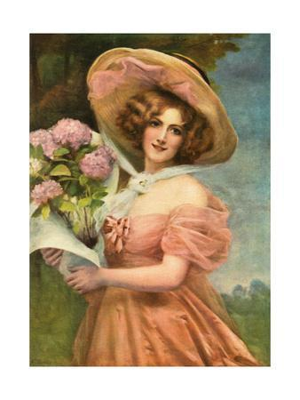 Portrait of a Fair Young Maiden Wearing a Pink Dress