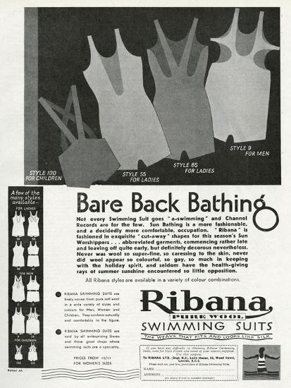Advert for Ribana Pure Wool Bathing Suits 1931
