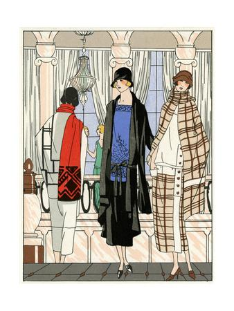 Three Young Ladies in Outfits by Drecoll