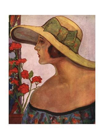 An Illustration of a Woman in a Summer Hat and Dress