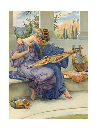 Two Ancient Greek Women Embroidering