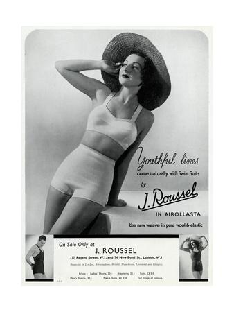 Advert for J. Roussel Swim Suits for Men and Women 1936