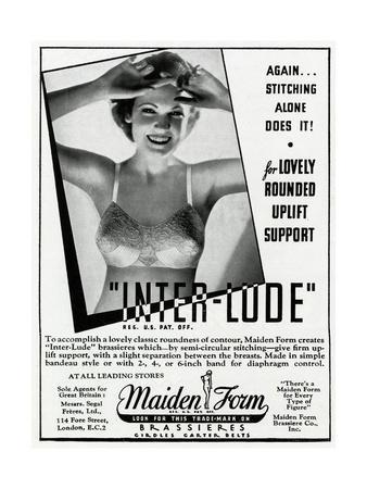Advert for Maiden Form Bra with Uplift 1936