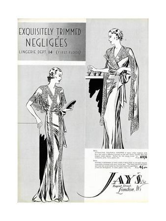 Advert for Jay's Negligees 1936