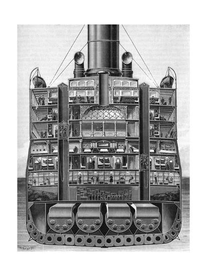 Titanic Engine Room Coal: Lusitania Cross Section Giclee Print At AllPosters.com