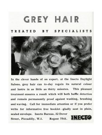 Advert for Inecto Salons: Unwanted Grey Hair 1936