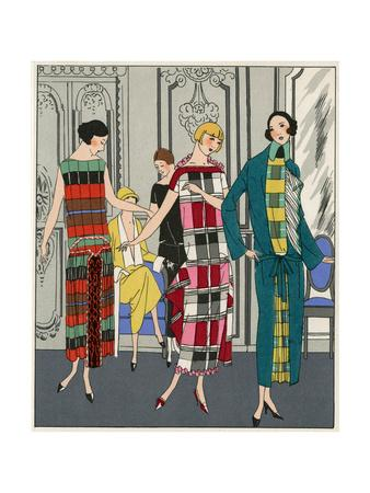 Three Checkered Dresses by Martial Et Armand