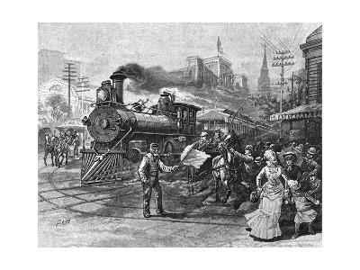 USA Train in Street 1885