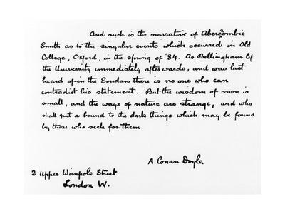 Handwriting Sample: Arthur Conan Doyle, 1925