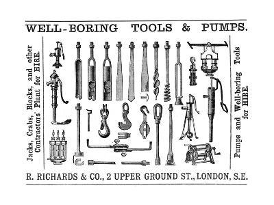 Well Boring Tools and Pumps Advertisement, 1888