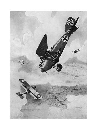 The German Diii Albatros Diving at a Foe, WW1