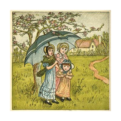 Three Girls under Blue Parasol