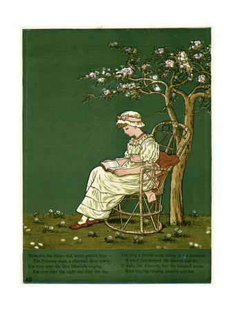 Girl in a Garden, Reading a Book