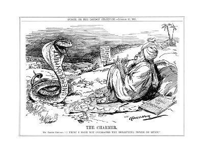 Lloyd George Tries to Charm Unemployment, Cartoon