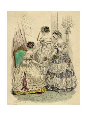 Three French Ladies in Crinolines