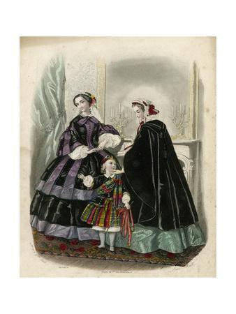 Two Women and a Child in the Latest French Fashions