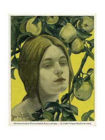 Jugend Front Cover, Young Woman with Apple Tree