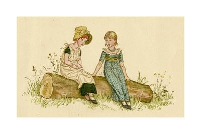 Two Little Girls Sitting on a Log