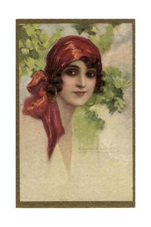 Young Italian Woman in a Red Headscarf