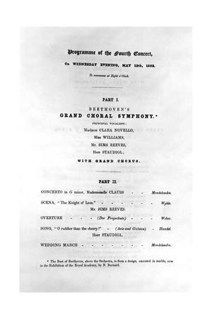 Programme for Beethoven's Grand Choral Symphony, 1852