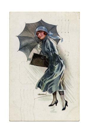 Girl with Grey Brolly