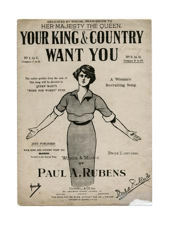Sheet Music Cover, Your King and Country Want You