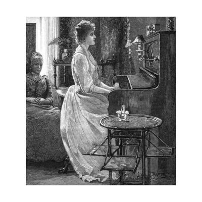Music at Home - a Lady Plays the Piano