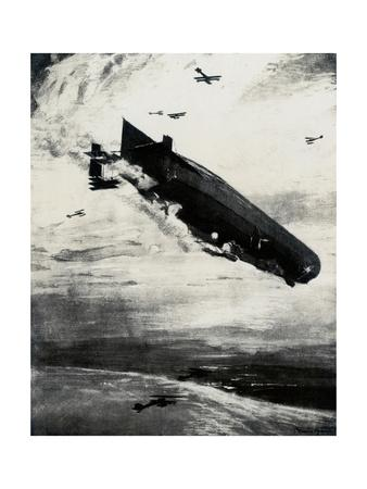 WW1 - Commodore Bigsworth Drops Bombs on Zeppelin, 1915