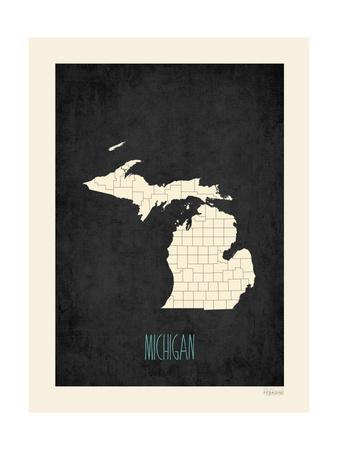 Black Map Michigan