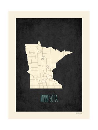Black Map Minnesota