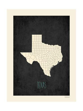 Black Map Texas