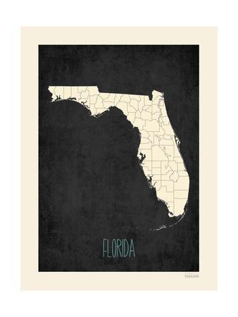 Black Map Florida