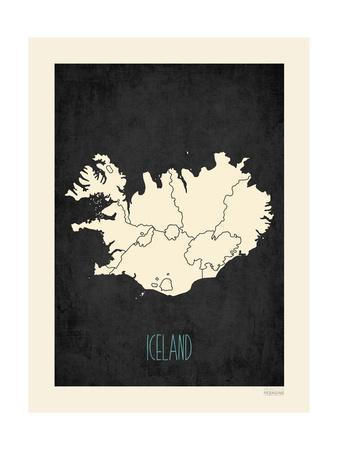 Black Map Iceland