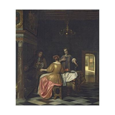 Interior with a Gentleman and Two Ladies Conversing, C.1668-70