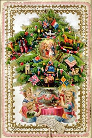 Christmas Tree Festooned with Presents Extending on Tabs to Reveal Pictures of Children