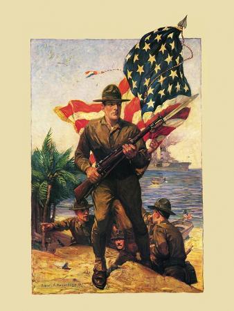 Mural Flag Marines