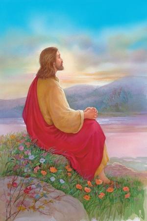 Jesus Sitting on a Rock Praying