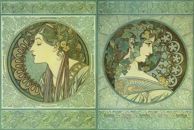Mucha Green Medallions
