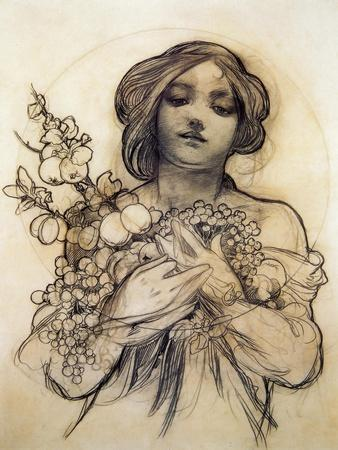 Mucha Study of Woman with Fruit