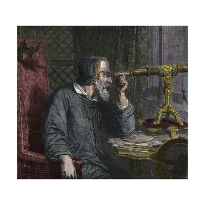 Galileo Galilei and His Telescope - Engraving 1864